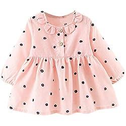 Xmiral Vestido con Estampado Lunares Manga Larga para Bebes Recien Nacido Niñas Dress Camisero de Algodón con Botones(Rosa,0-6 Meses)