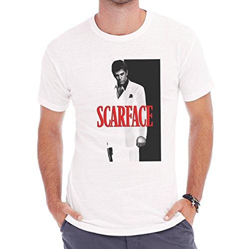 Scarface Movie Fanart Gun Disign Herren T-Shirt Weiß