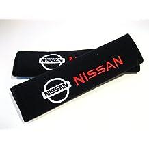 NISSAN Exquisita Almohadilla protectora para cinturón de seguridad con Bordado y cierro de velcro Negro - 1 Par
