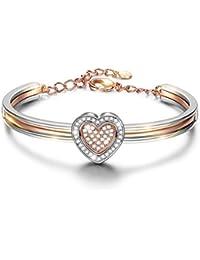 INLADY Cupidon Coeur Bracelet Cristaux de Swarovski Grand Cadeau pour Les Femmes Filles