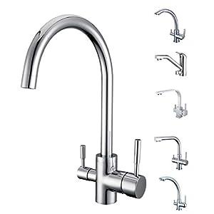 smardy DUO302 Grifo de Cocina 3 Vias, 360° Giratorio para osmosis inversa Agua Purificada (RO) Mangueras Conexión 3/8