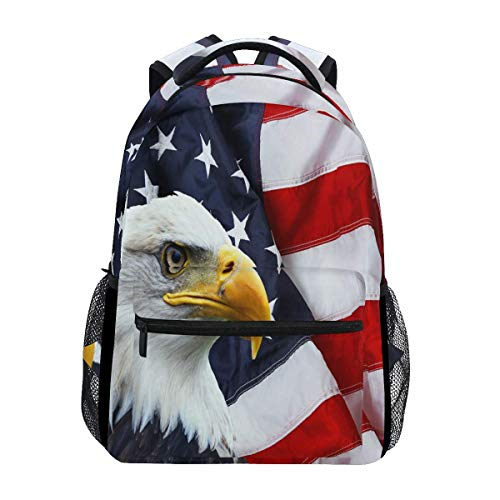 North American Bald Eagle with Flag Reisen Laptop-Rucksack Daypacks, Water Resistant College School Computer Bag Bookbag for Women & Men Outdoor Camping&Fits Up to 14-inch Notebook -