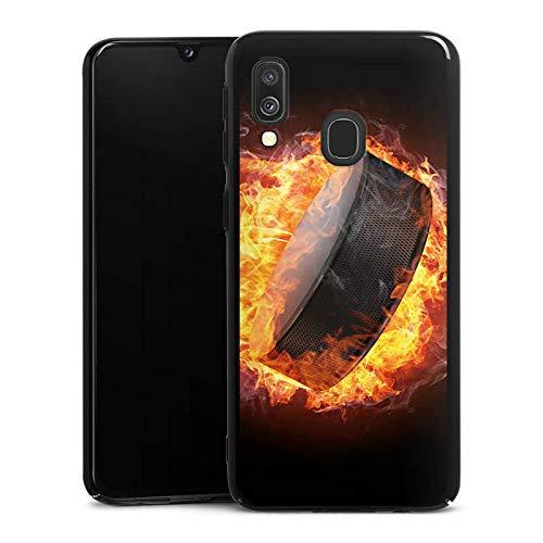 DeinDesign Hülle kompatibel mit Samsung Galaxy A40 Handyhülle Case Eishockey Flammen Slapshot