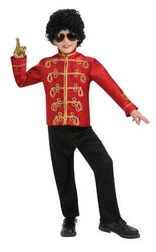 Militär Kostüm Jacke Rot - Rubie's Michael Jackson Jacke Militär rot Deluxe Kind