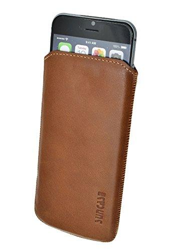 Original Suncase® Etui Tasche für | iPhone 8 / iPhone 7 / iPhone 6s / iPhone 6 (4.7 Zoll) | Leder Etui Handytasche Ledertasche Schutzhülle Case Hülle *Lasche mit Rückzugfunktion* antik-lachsrosa rustik-rost