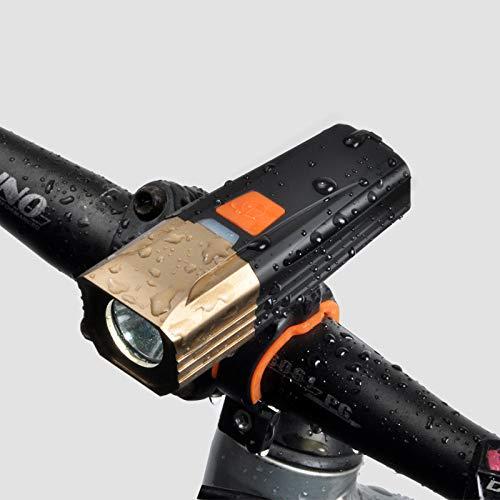 ZEYUE Fahrradlicht. USB-Ladeblendlicht Fahrradscheinwerfer. IP65 Wasserdicht / 5 Lichtmodusauswahl. LED Fahrradbeleuchtung (Gold)
