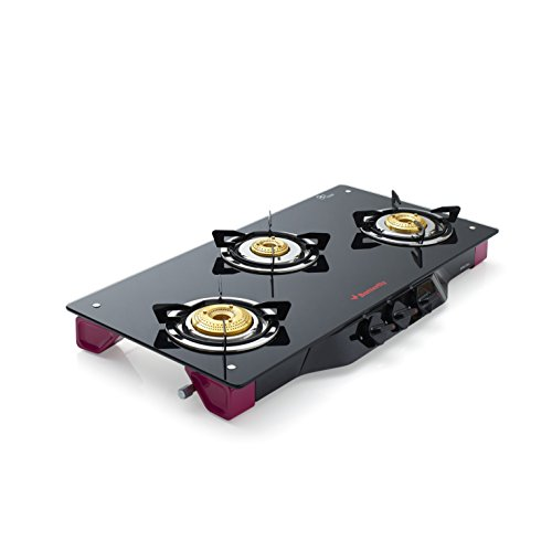 Butterfly Spectra Glass 3 Burner Gas Stove, Black/Pink