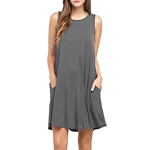 Fashion T-Shirt lâche Robes Casual Plain Swing Dress Tunique sans manches Gris