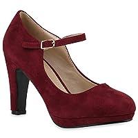 Stiefelparadies Women Pumps Mary Janes Platform Front 144601 Dark Red UK 5 EU 38 Flandell