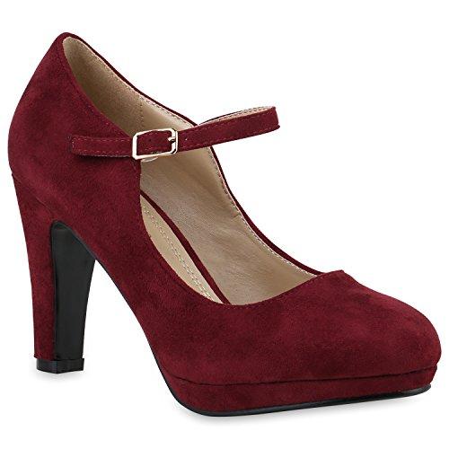 Stiefelparadies Damen Pumps T-Strap Blockabsatz High Heels Damen Mary Janes Samt Spangenpumps Lack...