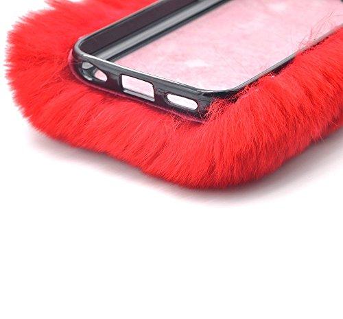 Sunroyal iPhone 5 5S SE Coque Fluffy Villi fourrure en peluche Laine Housse En Peluche De Lapin Breloque fantaisie Fourrure artificielle de lapin Douce Peluche Case Étui de Protection Arrière Pratique Rouge