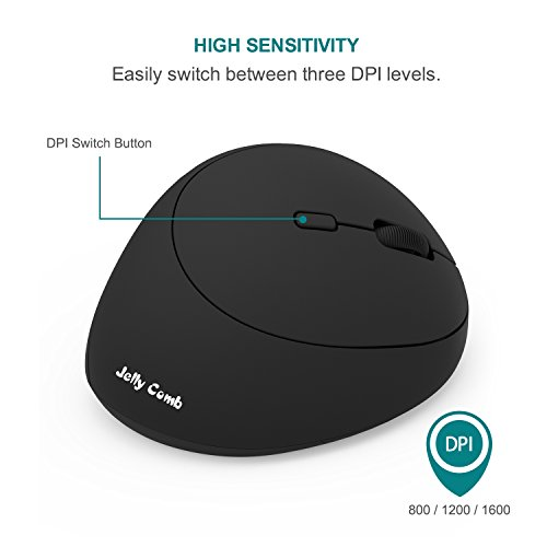 Ergonomic Vertical Mouse, Jelly Comb 2.4G Wireless Optical Silent Mice with USB Receiver for Computer Laptop PC, 3 Adjustable DPI (1000/1200/1600), 5 Buttons