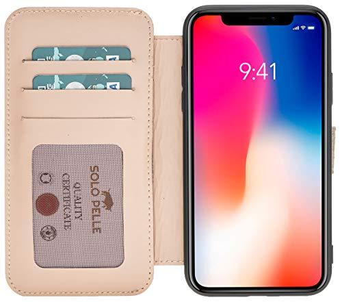 Solo Pelle kompatibel für das iPhone XR Hülle Case Lederhülle Ledertasche Wallet Tasche in Nude Walletbook Case