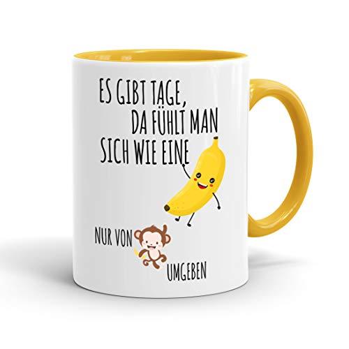 ige Tasse es gibt Tage da fühlt man sich wie eine Banane nur von Affen umgeben - originelles Geschenk, inner gold yellow ()