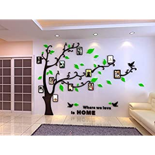 Topmail Large Removable Vinyl 3D Tree Wall Stickers Green Nursery Wall Decals Family Tree Wall Stickers with DIY Photo Frames for Bedding Room Living Room (M, Green Leaves, Left)