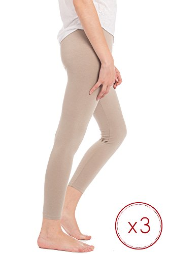 Abbino Dominic Leggings Basic Damen - Made in Italy - 12 Farben - Übergang Frühling Sommer Herbst Damenleggings Mädchen Leggins Stretch Uni Viskose Sale Regular Fit Freizeit - One size (34-40) 3er Pack - Beige