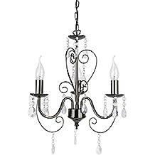 MiniSun – lampadario vintage nello stile francese shabby chic con 3 bracci e finitura nera