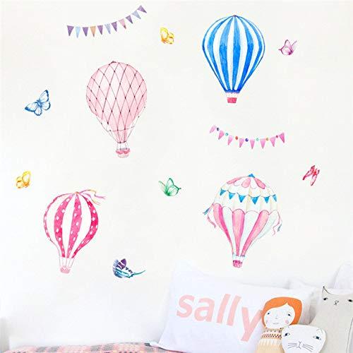 Cute Watercolor Hot Air Balloon Butterfly Cartoon Wall Stickers Kindergarten Wall Decor Children Room Background Removable Decal (Hot Air Balloon Butterfly)