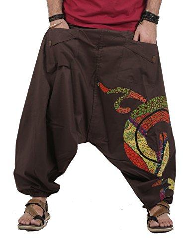 The Harem Studio Haremshose Herren Damen Aladinhose Alternative Kleidung Hose Aladinhose Goa Hose - Patchwork Stil (Braun)