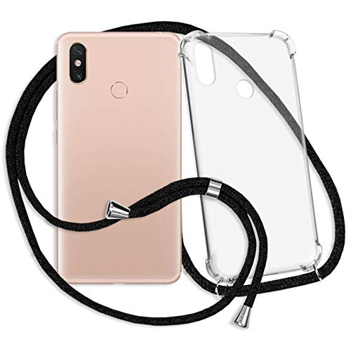 mtb More Energy® Collar Smartphone para Xiaomi Mi MAX 3 (6.9'') - Negro - Funda Protectora ponible - Carcasa Anti Shock con Cuerda