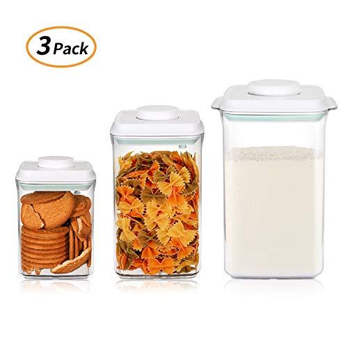 SKY LIGHT Behälter Vorratsdose mit Deckel POP Set 900ml 2000ml 4000ml Vakuum Stapelbar Frischhaltedosen Aufbewahrungsdose Luftdicht aus Lebensmittelqualität Polyäthylen Müslidosen BPA frei