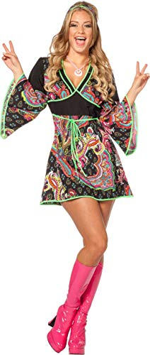 PARTY DISCOUNT ® Hippie-Kleid schwarz-flieder, Gr. 36