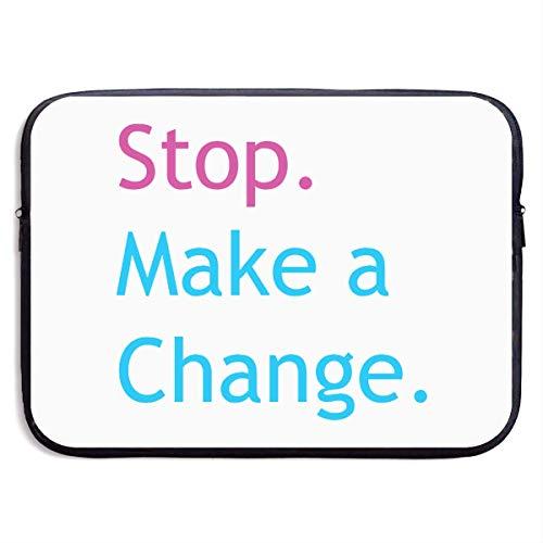 Benutzerdefinierte Laptop-Hülle 13/15 Zoll Notebook Reißverschluss Aktentasche Stop Machen Sie eine Änderung Print Portable Messenger Bag, 13 Zoll
