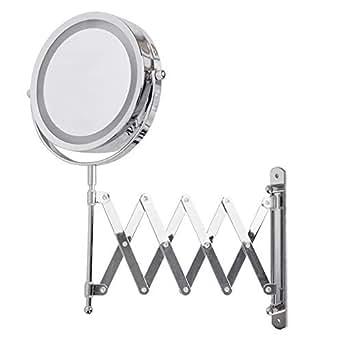 Adjustable And Extendable Round Chrome Battery Operated Magnifying Bathroom Led Illuminated Make