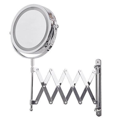 MiniSun – Moderno espejo LED para baño y dormitorio, con lupa, a pilas y acabado en cromo plateado. Maquillaje y afeitado