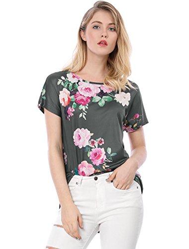 Allegra K Damen Sommer Kurzarm U-Boot Ausschnitt High-Low Blumen Top T-Shirt, XS (EU 34)/Grau (U-boot-ausschnitt Allegra K)