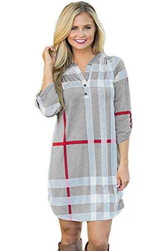 Nuovo da donna grigio plaid arco Hemline camicia vestito mini vestito da sera estate festa abiti taglia M UK 10-12EU 38-40