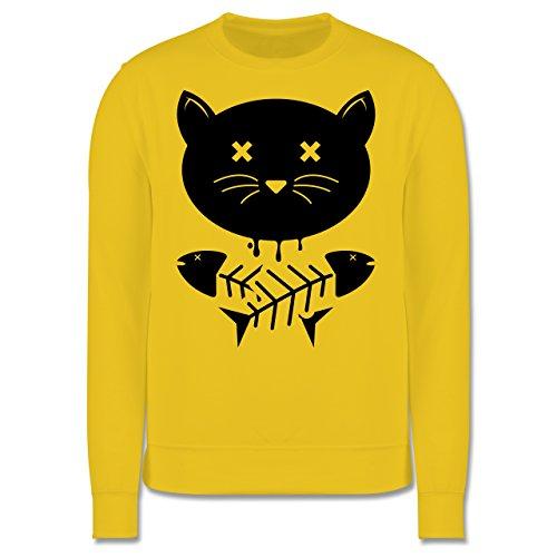 Katzen - Katze Skull - Herren Premium Pullover Gelb