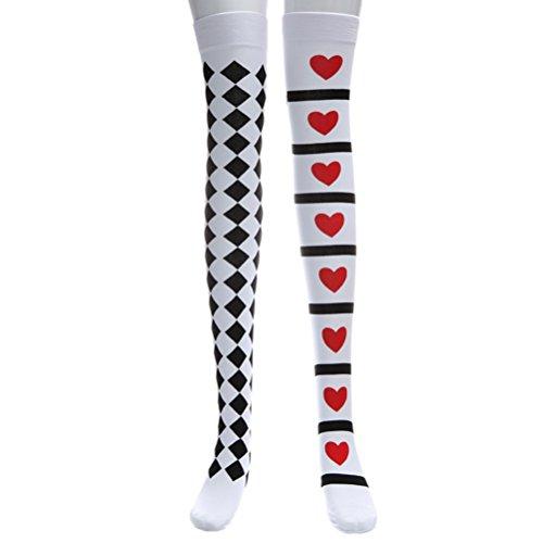 loween Cosplay Weiche Strümpfe Overknee Hohe Socken Schwarz und Weiß Lange Strümpfe für Frauen Mädchen (Weiß) (Custome Halloween Kind)