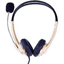 Rocket niños ligero de forma segura en la oreja Auriculares con micrófono para aula educación, viajes auriculares, audio para adolescentes, Hombres, Mujer Negro, color dorado