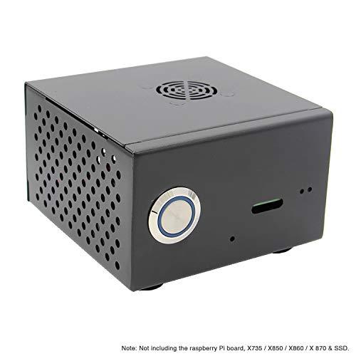 Geekworm Raspberry Pi X850 mSATA SSD Expansion Board Matching Metal Case, Enclosure + Power switch + Cooling Fan for X870/X860/X850/ X735 & Raspberry Pi 3 Model B+ / 3B /2B