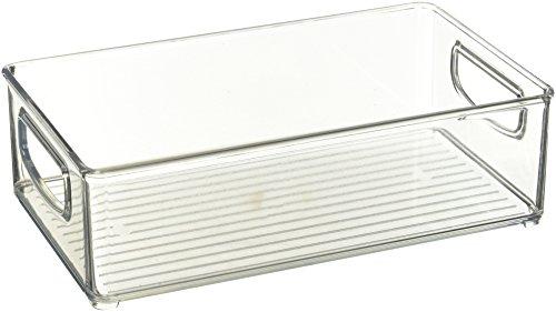 mDesign 2er-Set Küchen Organizer – praktische Aufbewahrungsbox für Küche, Kühlschrank und Speisekammer – cleverer Aufbewahrungskorb mit Griffen – aus BPA-freiem Kunststoff – durchsichtig Speisekammer-organizer-körbe