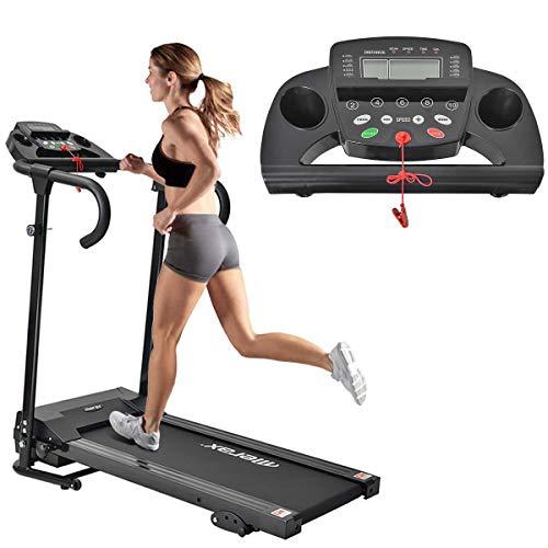 Merax Laufband Klappbar Elektrisches Laufbänder Fitnessgerät Verstaubar Kompakt mit LCD-Display und Tablethalterung, 12 Programmen 1-10km/h Lauftraining für Profi und Einsteiger (Schwarz)