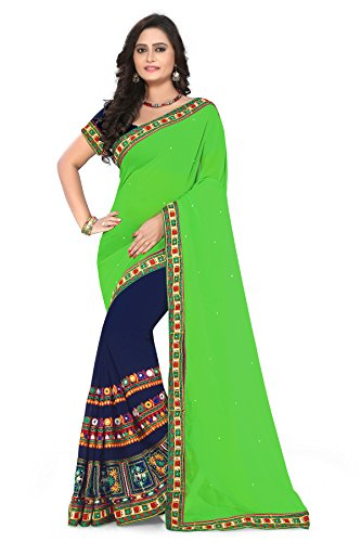 Riva Enterprise Women's Georgette embroidred kamthi work Saree (Green-Navy)