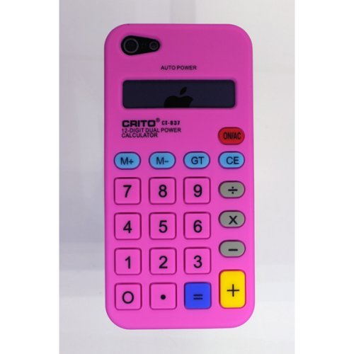 OBiDi - 3D Calculatrice Coque en Silicone / Housse pour Apple iPhone SE / Apple iPhone 5S / 5 - Hot Pink Hot Pink