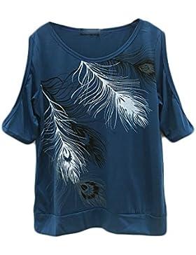 Baymate Camiseta Mujer Mangas Cortas Pluma Impreso Sin Hombro Tops Verano