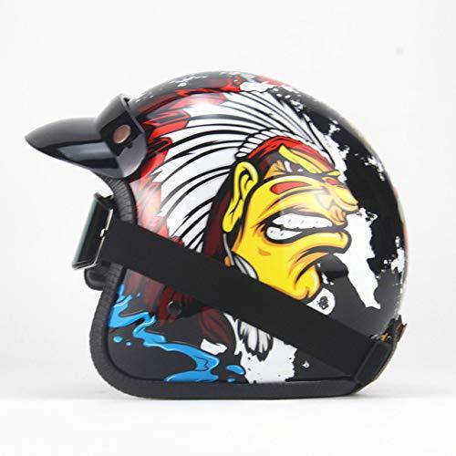 Casco Motocicleta Retro Open Face Retro Racing Motocicleta Casco con Gafas Máscara...