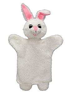 MU mubrno 24604a Conejos 34cm Color Blanco, marioneta de Mano