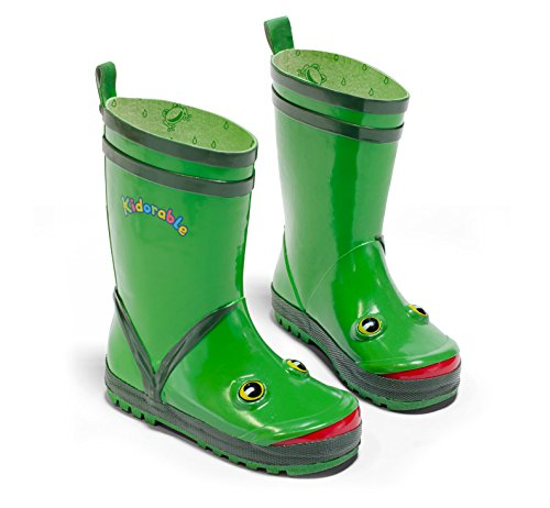 Kidorable Original Branded Frog Rubber Rain Boots, Wellies for Little Girls, Boys, Children, Toddlers
