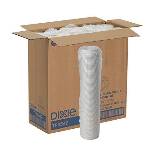 Dixie tp9542Smart Top wiederverschließbaren Kunststoff Dome Deckel für Dixie 10oz, 12oz, 16oz, und 20Oz Papier Hot Cups, weiß (Fall von 10, 100Deckeln Pro-Pack) Cup-fall-pack