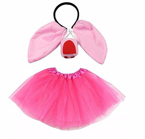 Lizzy Kids Pig Tutu Costume Fancy Dress Halloween Tutu Ears Animal Accessory Set (Full Pig Costume set)