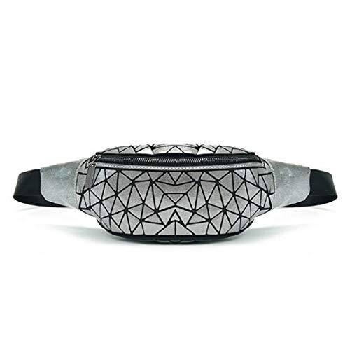 Luminous Bag Womens Geometry Taille Packs Schulter Brust/GüRtel Handtasche Gray (Gürtel Assassins Creed)