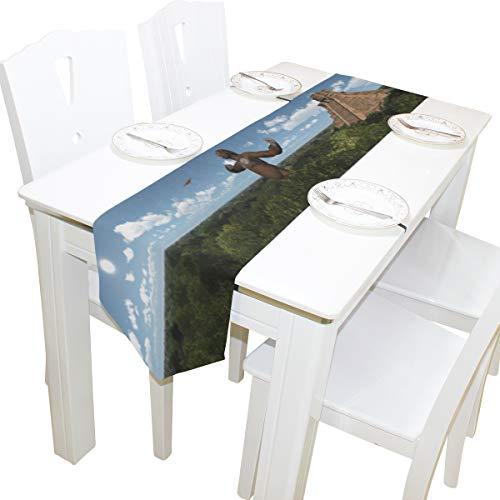 Yushg Empfindliche Flugsaurier Kommode Schal Tuch Abdeckung Tischläufer Tischdecke Tischset Küche Esszimmer Wohnzimmer Home Hochzeitsbankett Decor Indoor 13x90 Zoll