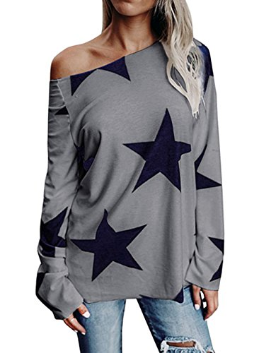 Olanstar Women's One Off Shoulder Star Printed Long Sleeve T Shirt Skew Neck Casual Blouse Top