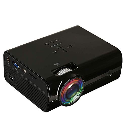 """YBDKSN Mini Videoprojektor, Heim HD 1080P 100"""" Theater System mit ± 12 ° Trapezkorrektur 1600 Lux Kompatibel mit iPhone Android PC-TV-Box PS4 (130"""" WiFi),Schwarz"""