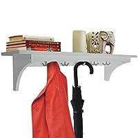 WATSONS MEDFORD - 90cm Wall Storage Shelf with 5 Hooks/Hallway Coat Rack/Towel Shelf - White